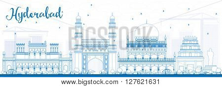 Outline Hyderabad Skyline with Blue Landmarks. Business Travel and Tourism Concept with Historic Buildings. Image for Presentation Banner Placard and Web Site.