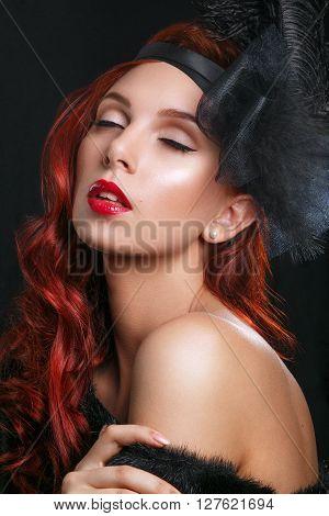 Beauty Fashion Model Retro Girl Over Black Background. Vintage Style Woman Portrait. Luxury Lady. Vi