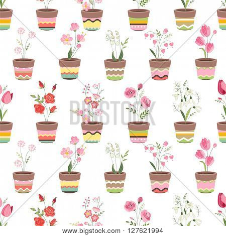 Seamless pattern with cute striped flower pots and growing flowers. Endless texture for your design, advertisement, posters.
