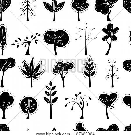 Seamless pattern with trees.  Black and white.  Endless texture for your design, advertisement, posters.
