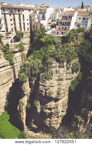 view of buildings over cliff in ronda spain