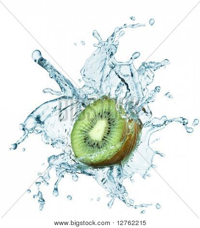 Fresh kiwi jumping into water with a splash