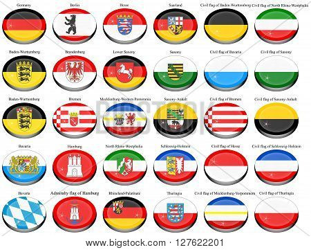 Set of icons. States of Germany flags.