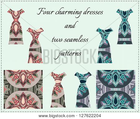 Beautiful card with collection of ornamental female dresses. Four charming dresses and two seamless patterns. Fashion design. Vector illustration.