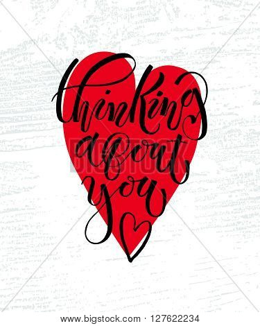 Thinking About You Lettering Typography Poster