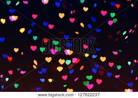 Bokeh Hearts Lights Romantic Background Night 1