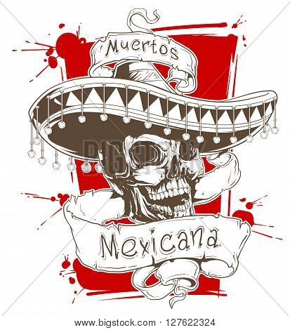 A vector illustration of mexican skull in sombrero with ribbons and text