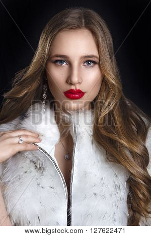 Winter Woman In Luxury Fur Coat. Beauty Fashion Model Girl In Blue Fox Fur Coat. Perfect Makeup And