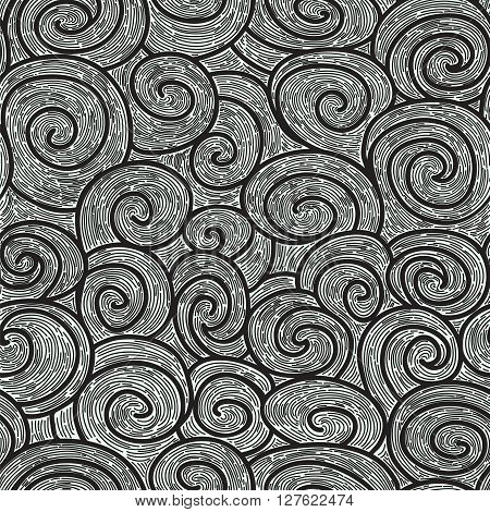 black and white whorl seamless pattern. imitating hand drawn