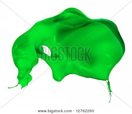 grüne Farbe Splash isoliert auf weißem Hintergrund