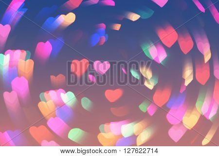 Bokeh Hearts Lights Whirl Romantic Background Pink Blue 3