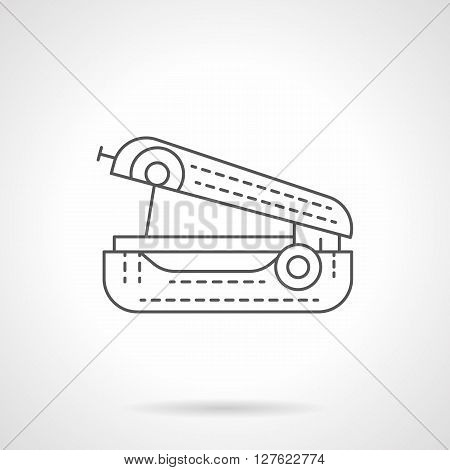 Sewing equipment. Device for clothes mending in travel. Handled sewing machine. Flat line style vector icon. Single design element for website, business.