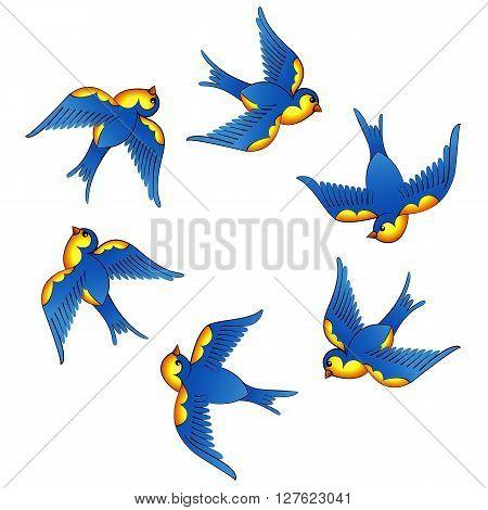 set of two oldschool tattoo blue birds