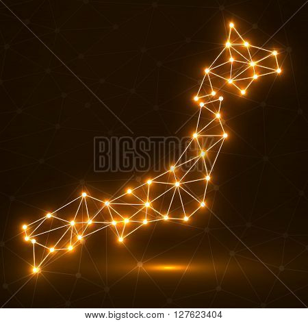 Abstract polygonal Japan map with glowing dots and lines, network connections, vector illustration, eps 10