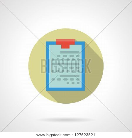 Medical equipment and accessories. Patient data. Blue doctor clipboard. Round flat color style vector icon. Web design element for site, mobile and business.