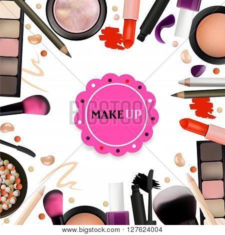 Make Up Artist Objects. lipstick eye shadows eyeliner concealer nail polish brushespencils palettes powder. Vector Emblem. Realistic Vector Design.