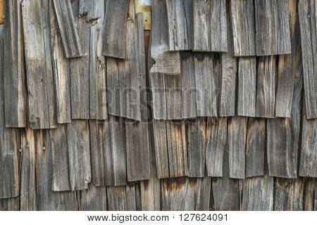 weathered wooden shingles - old building wall background