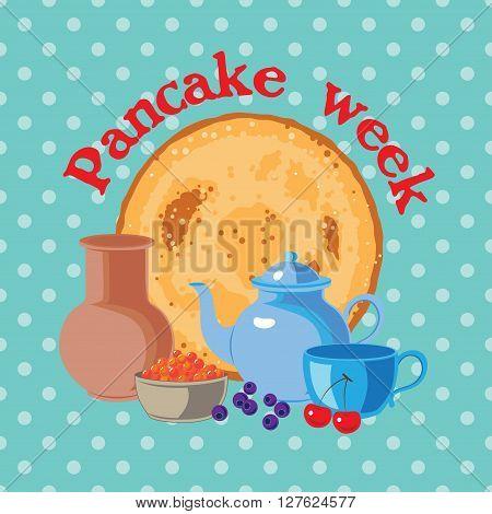 Pancake week vector illustration card with a pancake and caviar