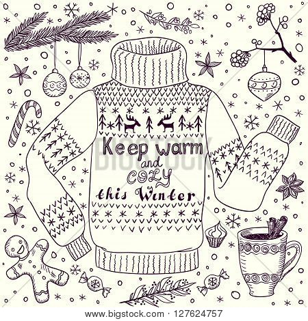 Handdrawn doodle Christmas or winter greeting card with cozy pullover