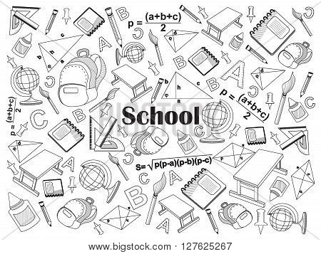 School design colorless set vector illustration. Coloring book. Black and white line art