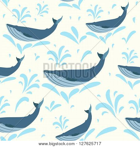 Vector whale illustration. Swimming cute whales seamless background for print or web. Whales pattern in retro style