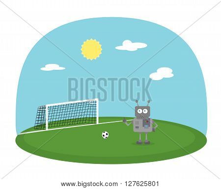 Cute robot boy playing football on small stadium. Green soccer field with ball and cartoon character. Sunny day with blue sky and clouds.