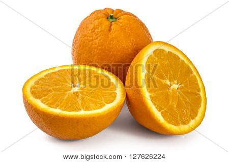 Two raw organic oranges, one cutted in half, isolated on white background