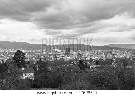 Aerial view of the skyline of industry and business area of Zurich from Irchelberg Switzerland. Photo in Black and White