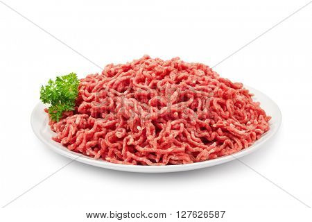 Plate with fresh raw ground beef isolated on white