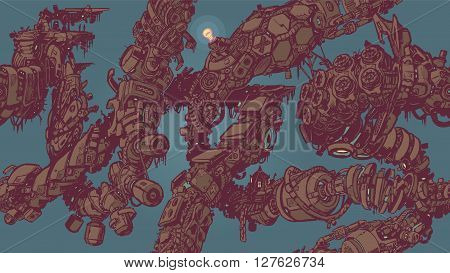A seamless tiling or tessellating background pattern vector illustration featuring intertwining vines or tentacles made of decaying anime style sci fi cyberpunk high tech junk.
