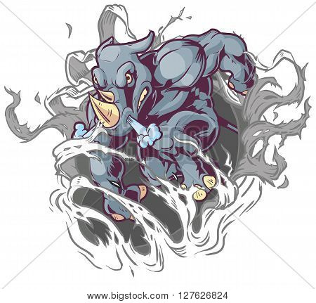 Vector Cartoon Clip Art Illustration of a Crouching Anthropomorphic Cartoon Mascot Rhino Ripping Through the Background.