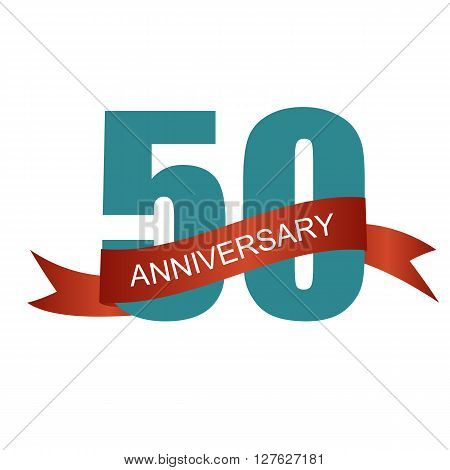 Fifty 50 Years Anniversary Label Sign for your Date. Vector Illustration EPS10