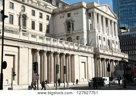 LONDON - MAR 31 2016: The Bank Of England building in London