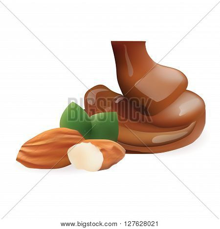 Vector Realistic Collection of Liquid Melted Pouring Chocolate and Almond. Isolated on White Background. Design Element For Dessert Food Packaging and Wrapping