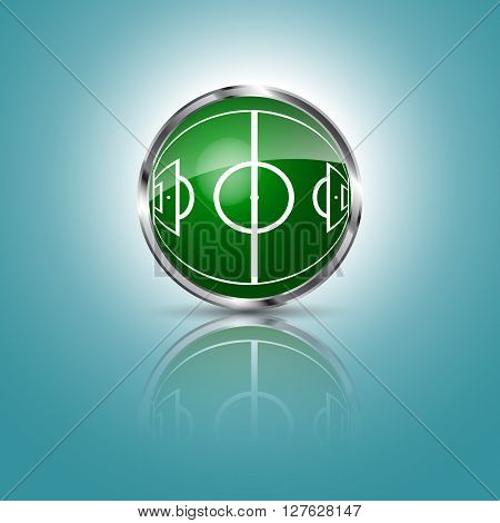 Green grass sphere with soccer field on a blue clear background. Vector illustration.