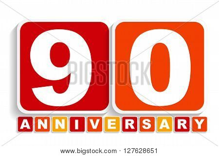 Ninety 90 Years Anniversary Label Sign for your Date. Vector Illustration EPS10