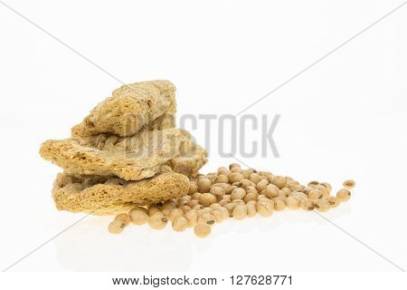 Soybeans And Dry Soya Fillets, Isolated On White Background.