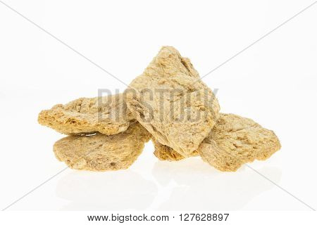 Dry Soya Fillets, Isolated On White Background.