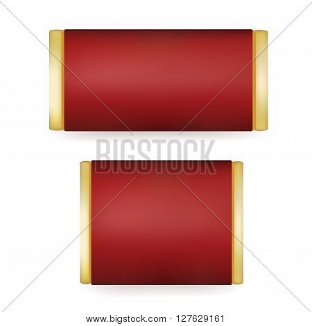 Red Blank Food Packaging For Biscuit Wafer Crackers Sweets Chocolate Bar Candy Bar Snacks . Design Template. Isolated On White Background. Package Mock-up.