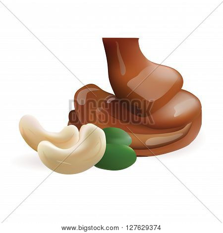 Vector Realistic Collection of Liquid Melted Pouring Chocolate and Cashew. Isolated on White Background. Design Element For Dessert Food Packaging and Wrapping