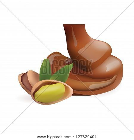Vector Realistic Collection of Liquid Melted Pouring Chocolate and Pistachio. Isolated on White Background. Design Element For Dessert Food Packaging and Wrapping