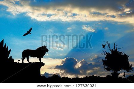 Jungle With Mountains, Old Tree, Birds Lion And Meerkat On Blue Cloudy Sunset Background