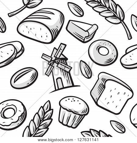 Bakery set icon. Seamless Pattern hand drawn vintage for bakery. Bread grain wheat donut cake mill and Cooking. Set Vector bakery symbols and icon.