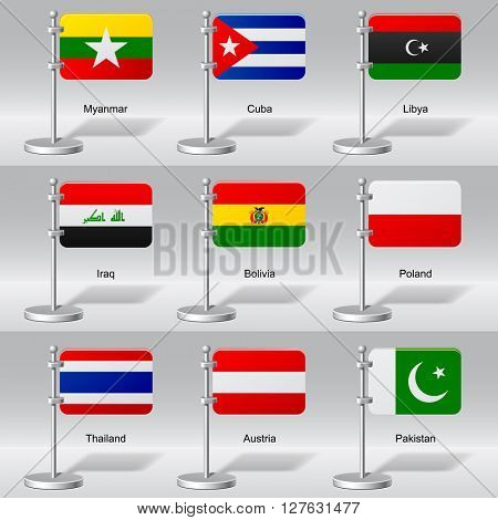 Vector set of world table flags. Transparent drop shadow. Vector illustration