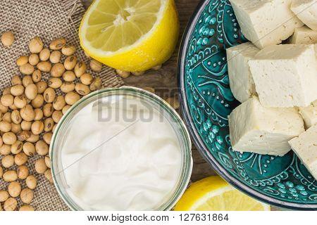 Soy Mayonnaise, Lemon, Soybeans And Tofu, On Wooden Background