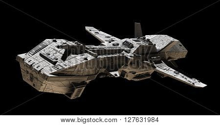 Science fiction illustration of an interplanetary gunship, isolated on black, side angled view, 3d digitally rendered illustration (3d rendering, 3d illustration)