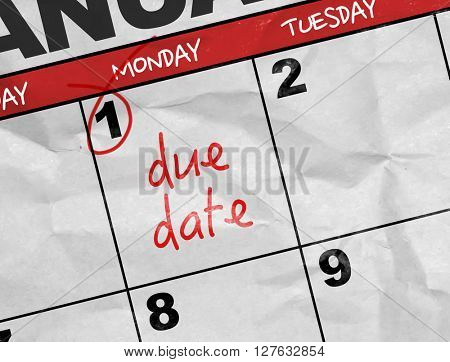 Concept image of a Calendar with the text: Due Date