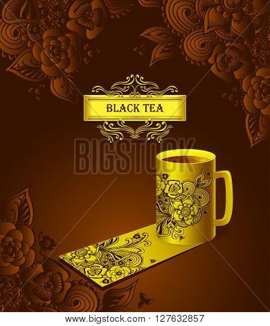 Template package gold cup of tea  with  Zen-doodle flowers or  Zen-tangle  pattern black  for advertising tea