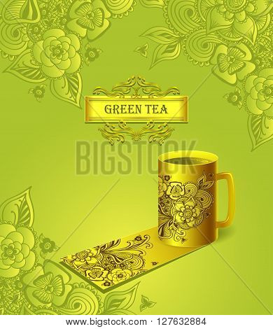 Template package gold cup of tea  with  Zen-doodle flowers or  Zen-tangle  pattern green for advertising tea