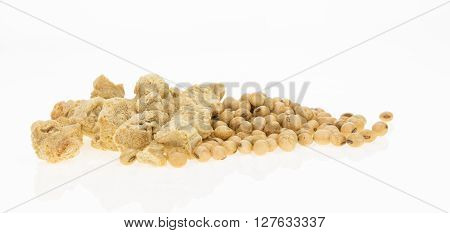 Soybeans And Dry Soya Chunks, Isolated On White Background.